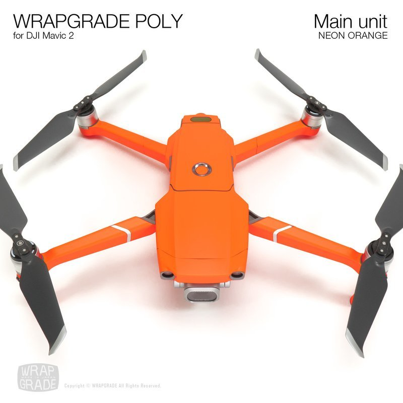 Wrapgrade Poly Skin for DJI Mavic 2 | Main unit (NEON ORANGE)