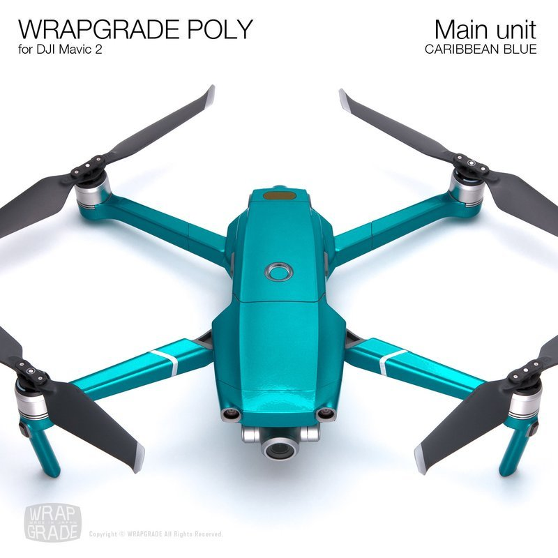 Wrapgrade Poly Skin for DJI Mavic 2 | Main unit (CARIBBEAN BLUE)