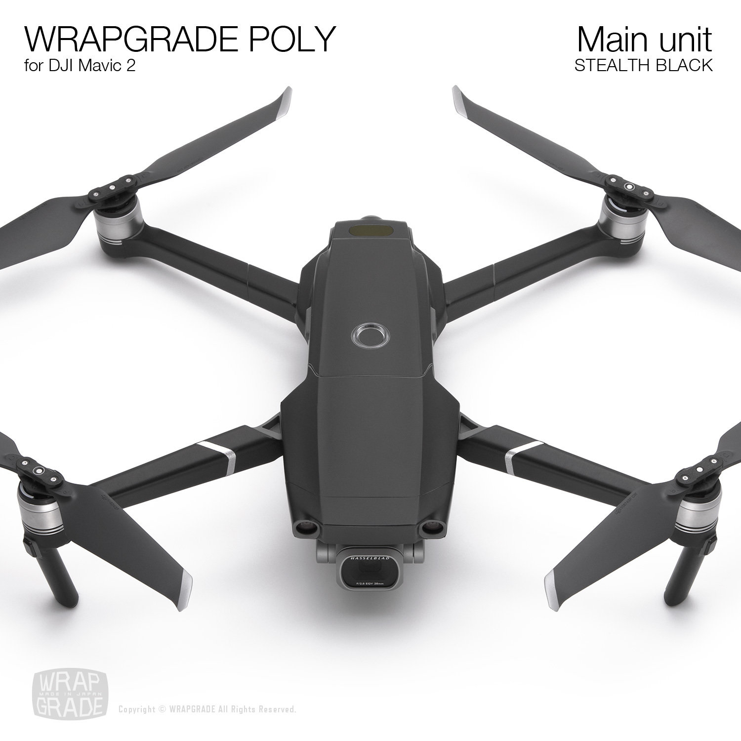 Wrapgrade Poly Skin for DJI Mavic 2 | Main unit (STEALTH BLACK)