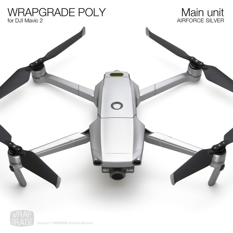 Wrapgrade Poly Skin for DJI Mavic 2 | Main unit (AIRFORCE SILVER)