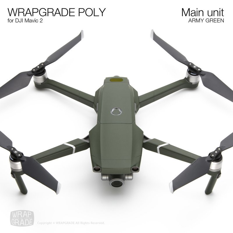 Wrapgrade Poly Skin for DJI Mavic 2 | Main unit (ARMY GREEN)
