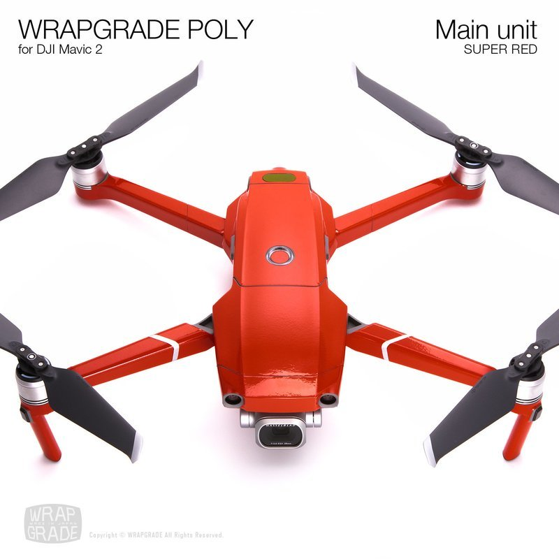 Wrapgrade Poly Skin for DJI Mavic 2 | Main unit (SUPER RED)