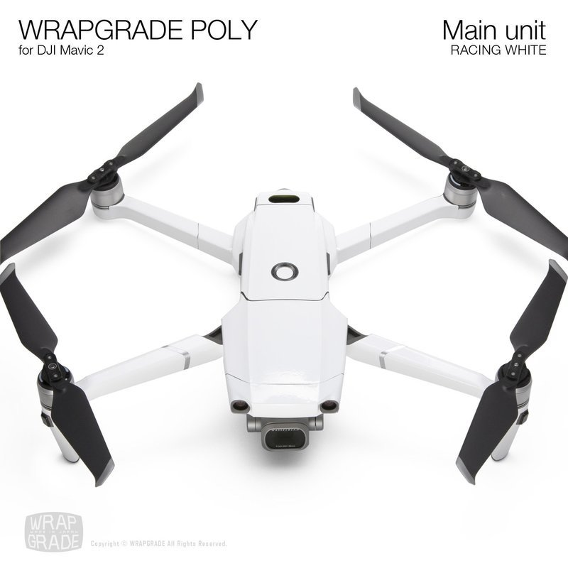 Wrapgrade Poly Skin for DJI Mavic 2 | Main unit (RACING WHITE)
