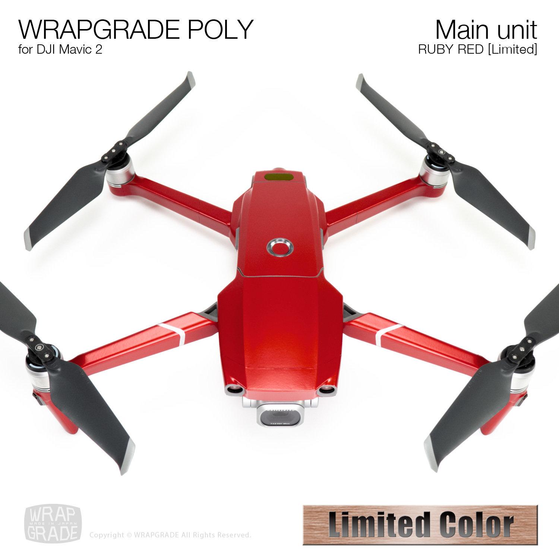 Wrapgrade Poly Skin for DJI Mavic 2 | Main unit (RUBY RED)