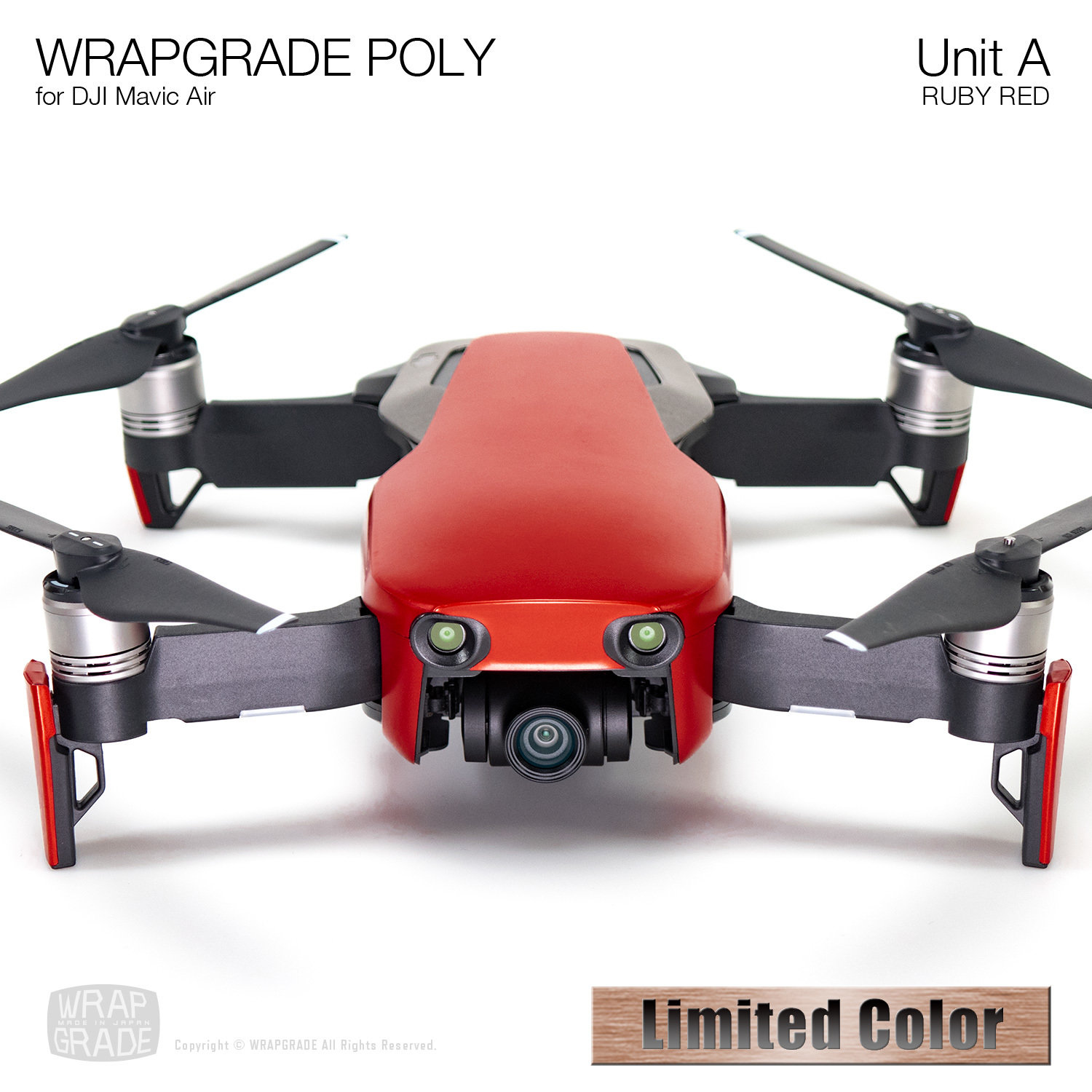 Wrapgrade Poly Skin for DJI Mavic Air | Unit A (RUBY RED)