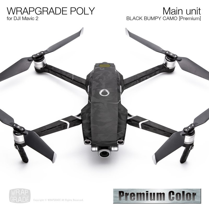 Wrapgrade Poly Skin for DJI Mavic 2 | Main unit (BLACK BUMPY CAMO)