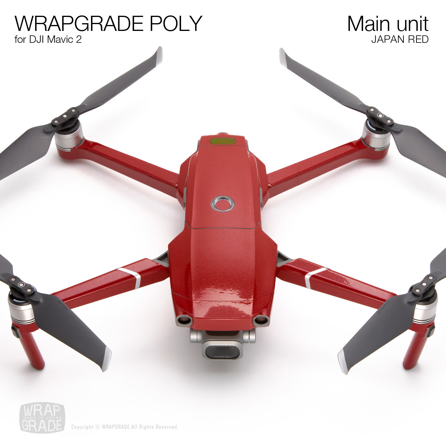 Wrapgrade Poly Skin for DJI Mavic 2 | Main unit (JAPAN RED)