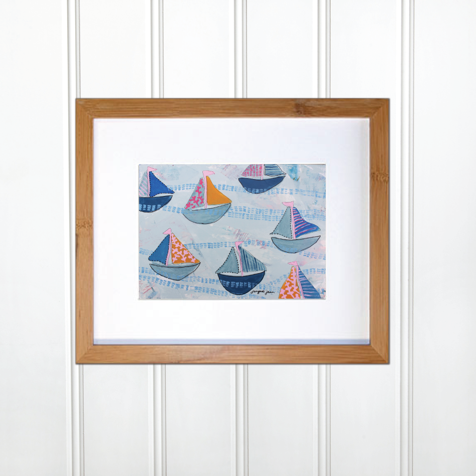 Bright Pink and Blue Sailboats 00067