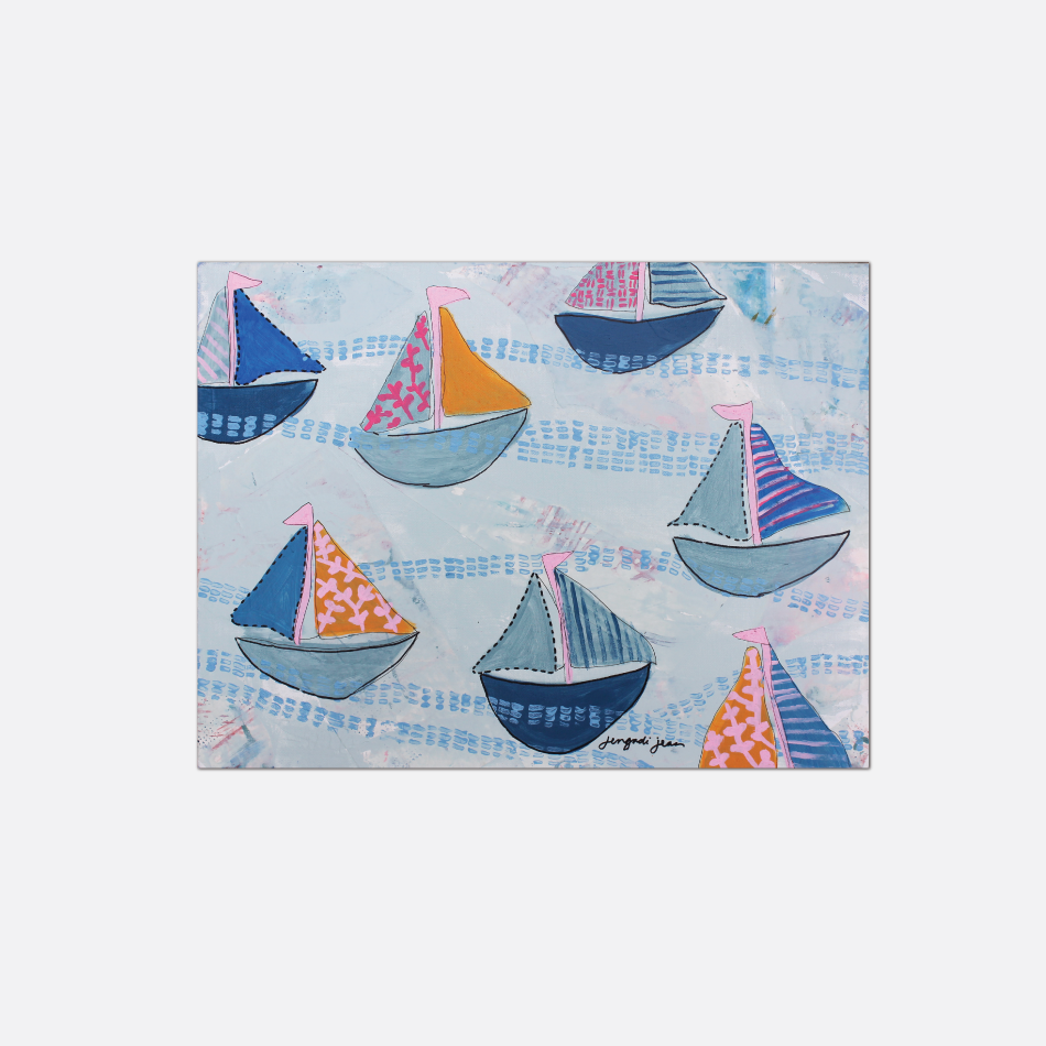 Bright Pink and Blue Sailboats