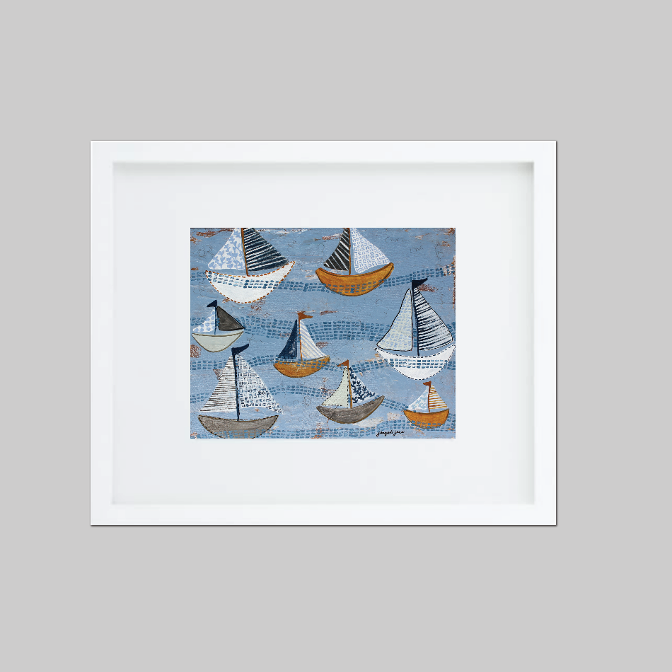 Light Blue Sailboats