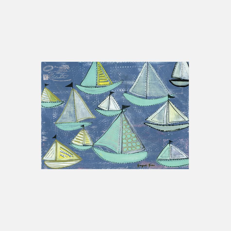 Bright Blue & Seafoam Sailboats