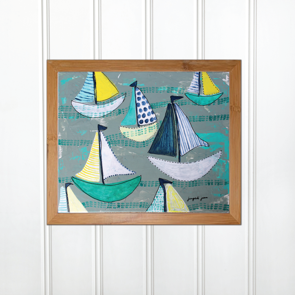 Teal Sailboats