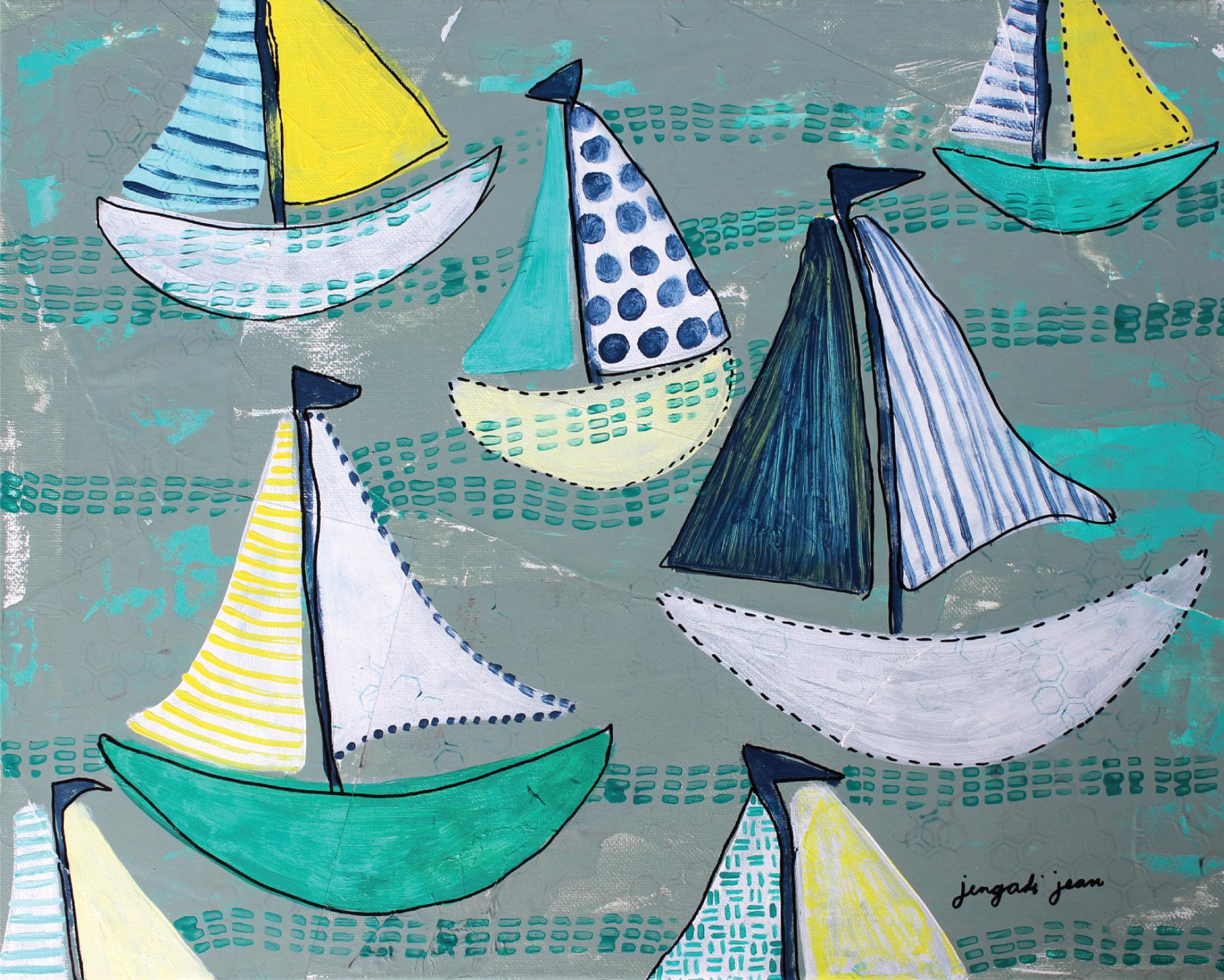 Teal Boats (16 x20) 00010