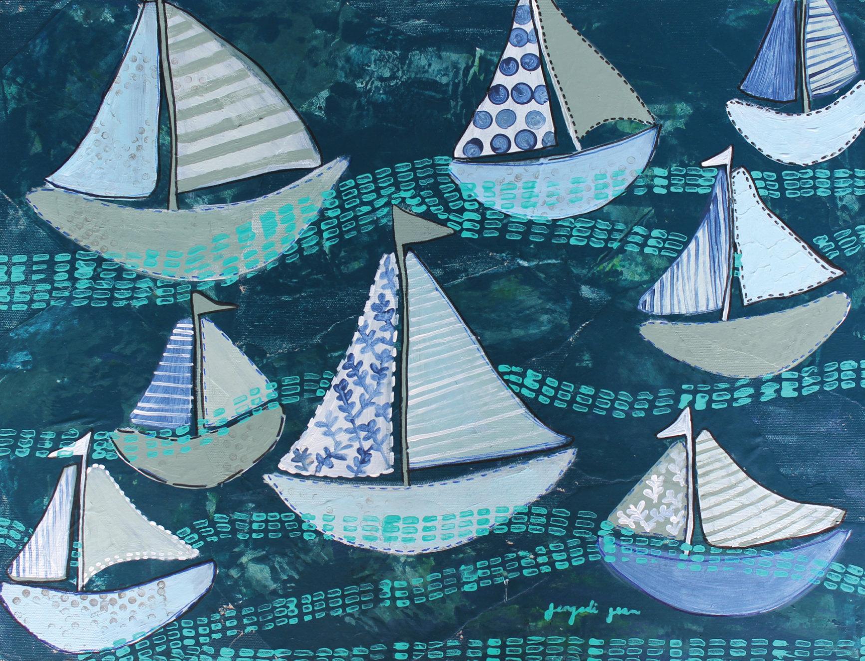 Navy Boats (16 x 20) 00011