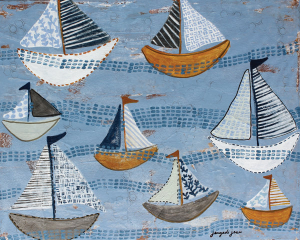 Light Blue Boats (16 x 20) 00013