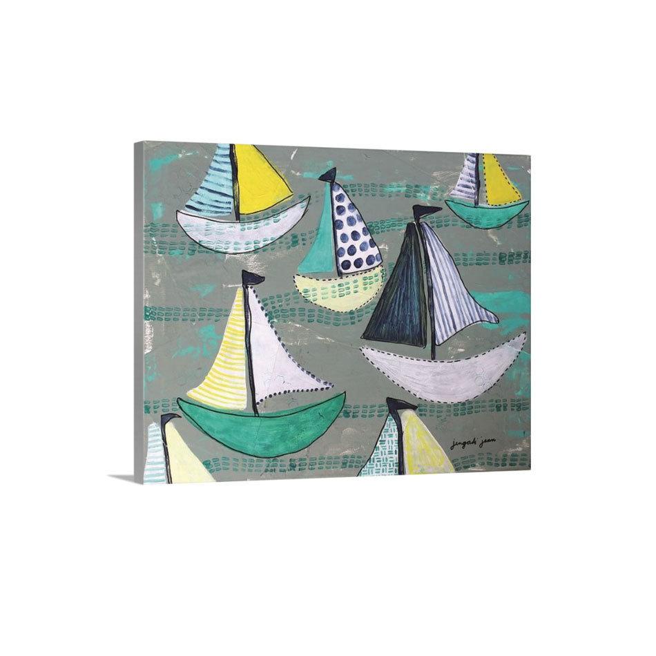Teal Sailboats Canvas Reproduction (16 x 20) 00017
