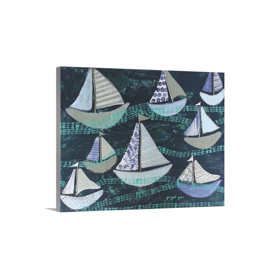 Navy Sailboats Canvas Reproduction (16 x 20) 00018