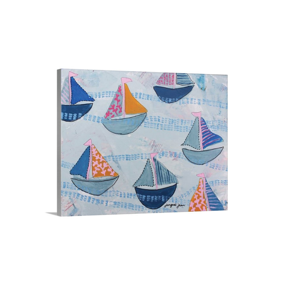 Pink Navy Sailboats Canvas Reproduction (16 x 20) 00019