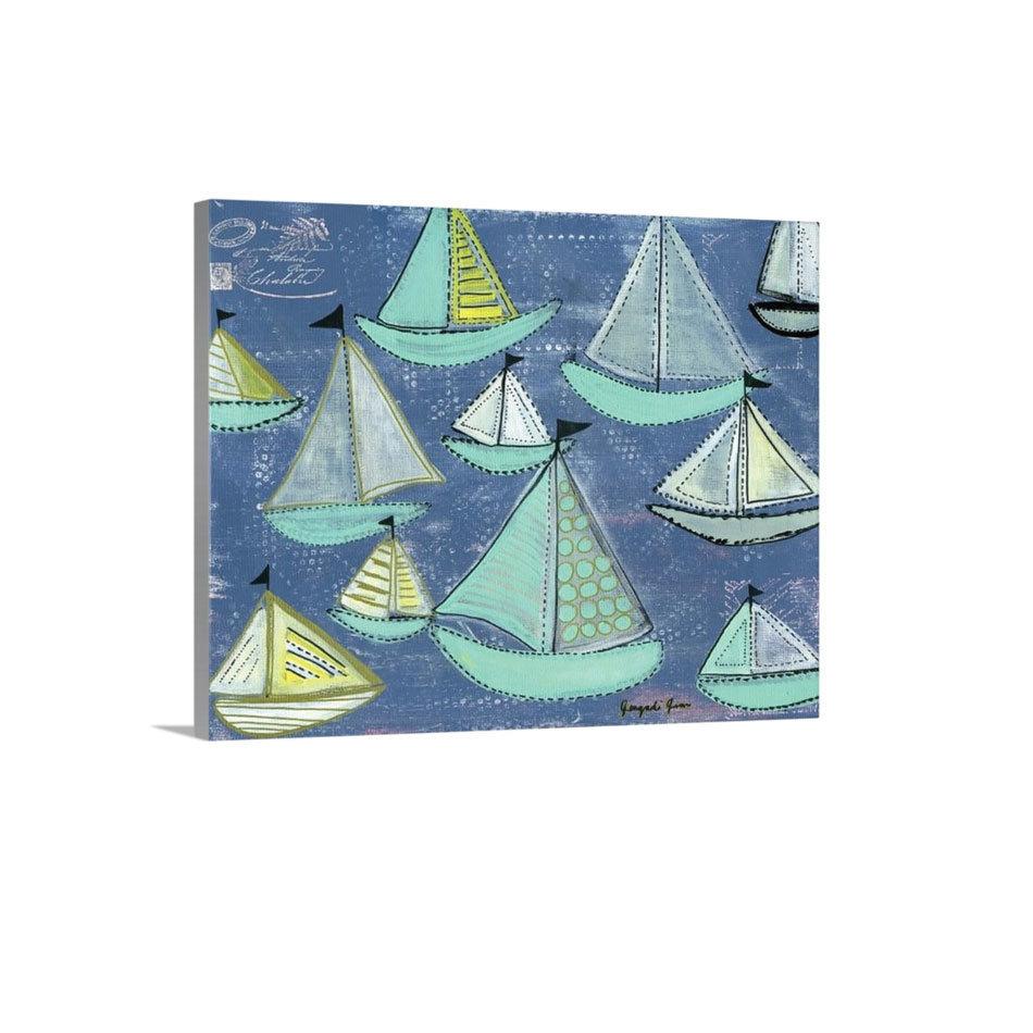 Seafoam Blue Sailboats Canvas Reproduction (16 x 20) 00020