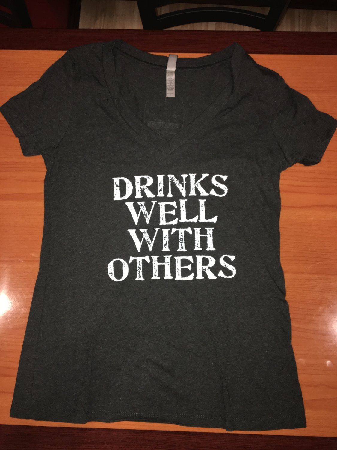 """Black """"Drinks Well with Others"""" Women's V-Neck"""