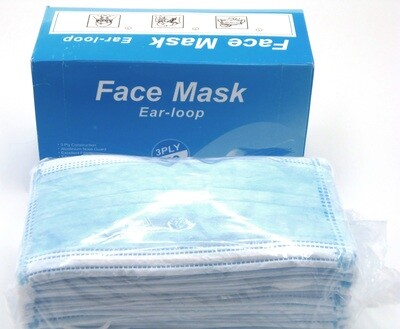 BOX OF 50 BLUE 3-PLY FACE MASKS W/NOSE GUARD AND EAR LOOP