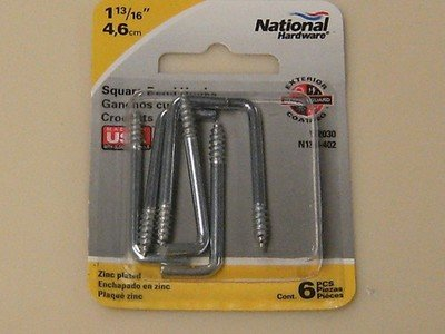 National Square Bent Hooks & Eyes 1-13/16