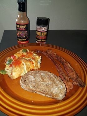 """Hot Sauce Hotel"" -Spicy Hot (Red) - ""THE KING""s Southwest Omelet with ""Rub me Tender"" and ""Hot Sauce Hotel"" -  Spicy Hot"