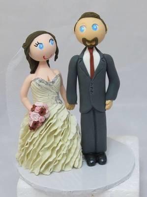 Standing Bride & Groom on round base board