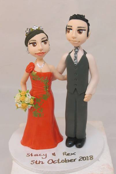 "Standing Couple with ""Realistic Faces""on round base board"