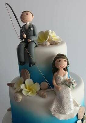 Sitting Couple Groom with fishing rod