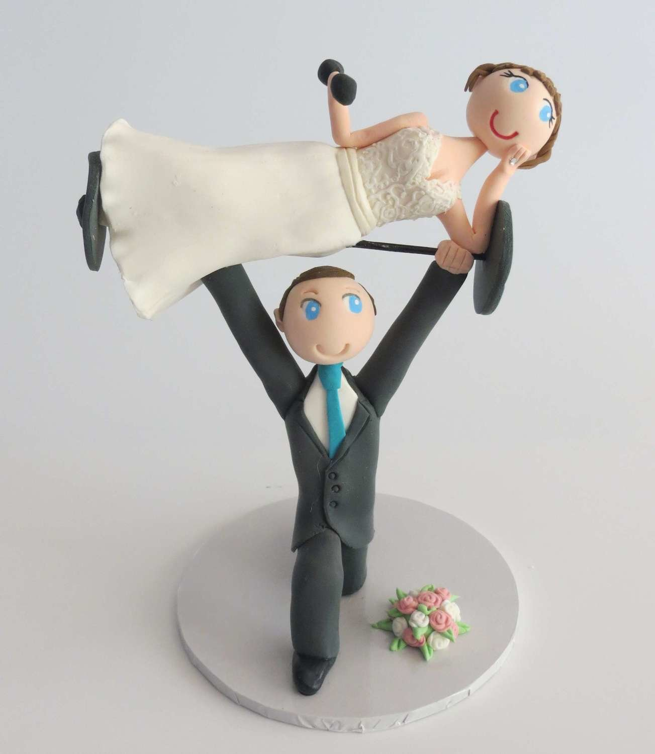 Weightlifting Bride & Groom on Base board
