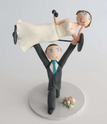 Weightlifting Bride & Groom on Base board