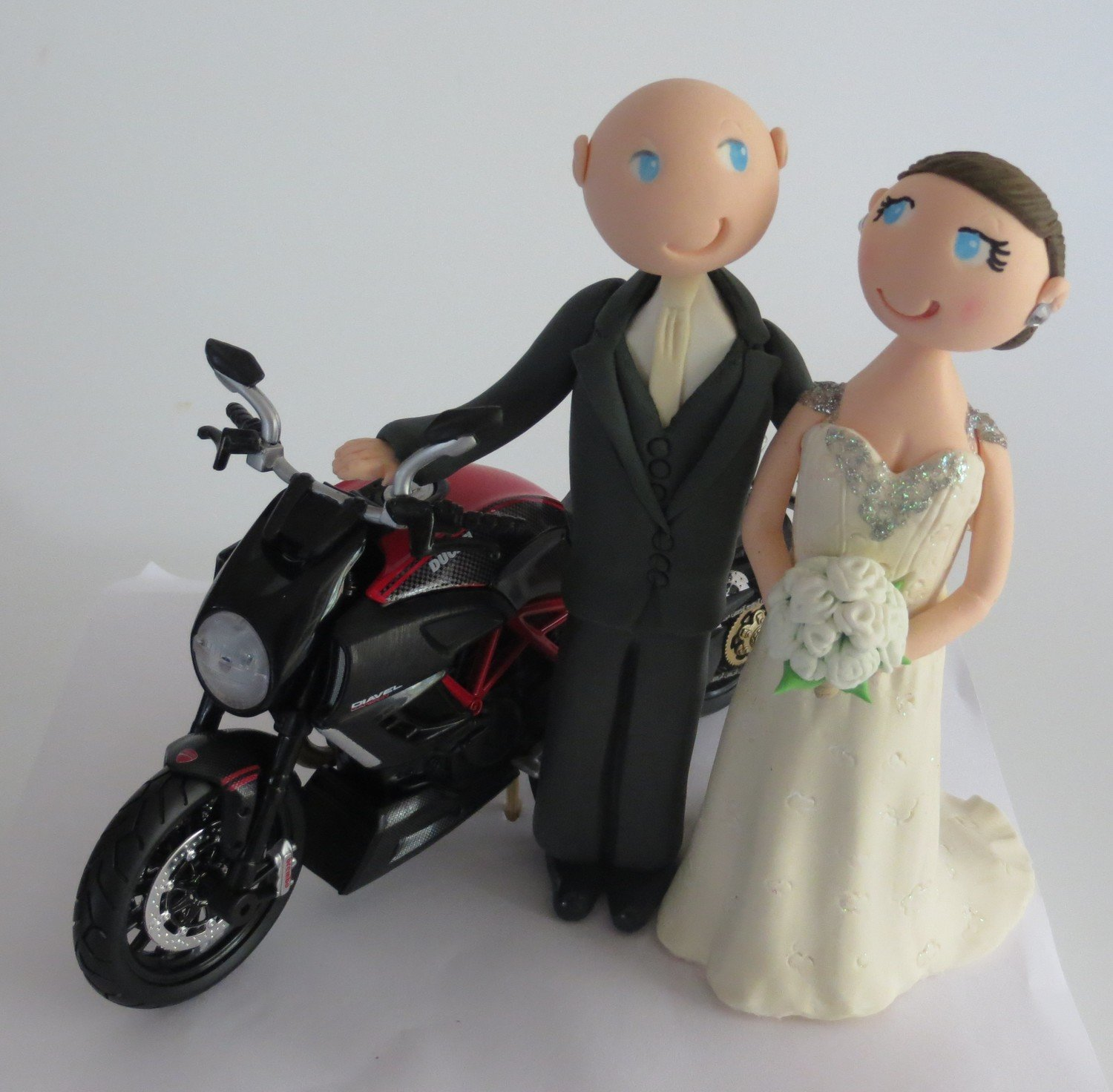 Bride & Groom with Motorbike on round base board