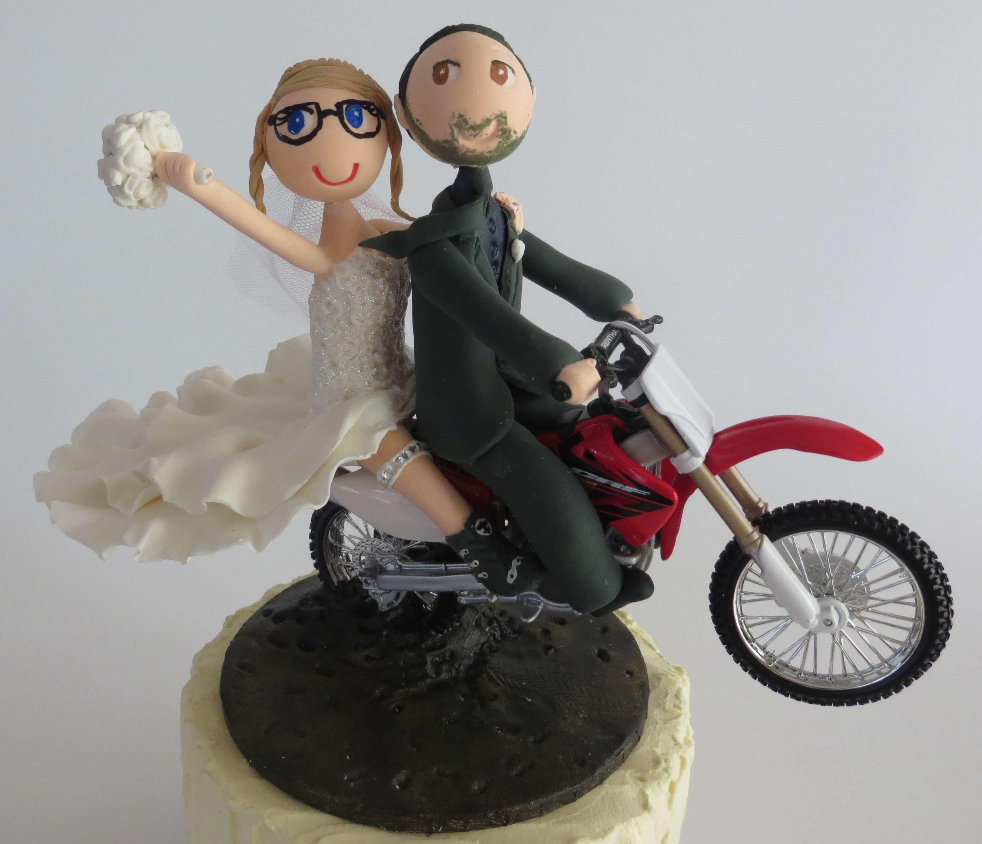 Couple Riding  Motorbike on base board W