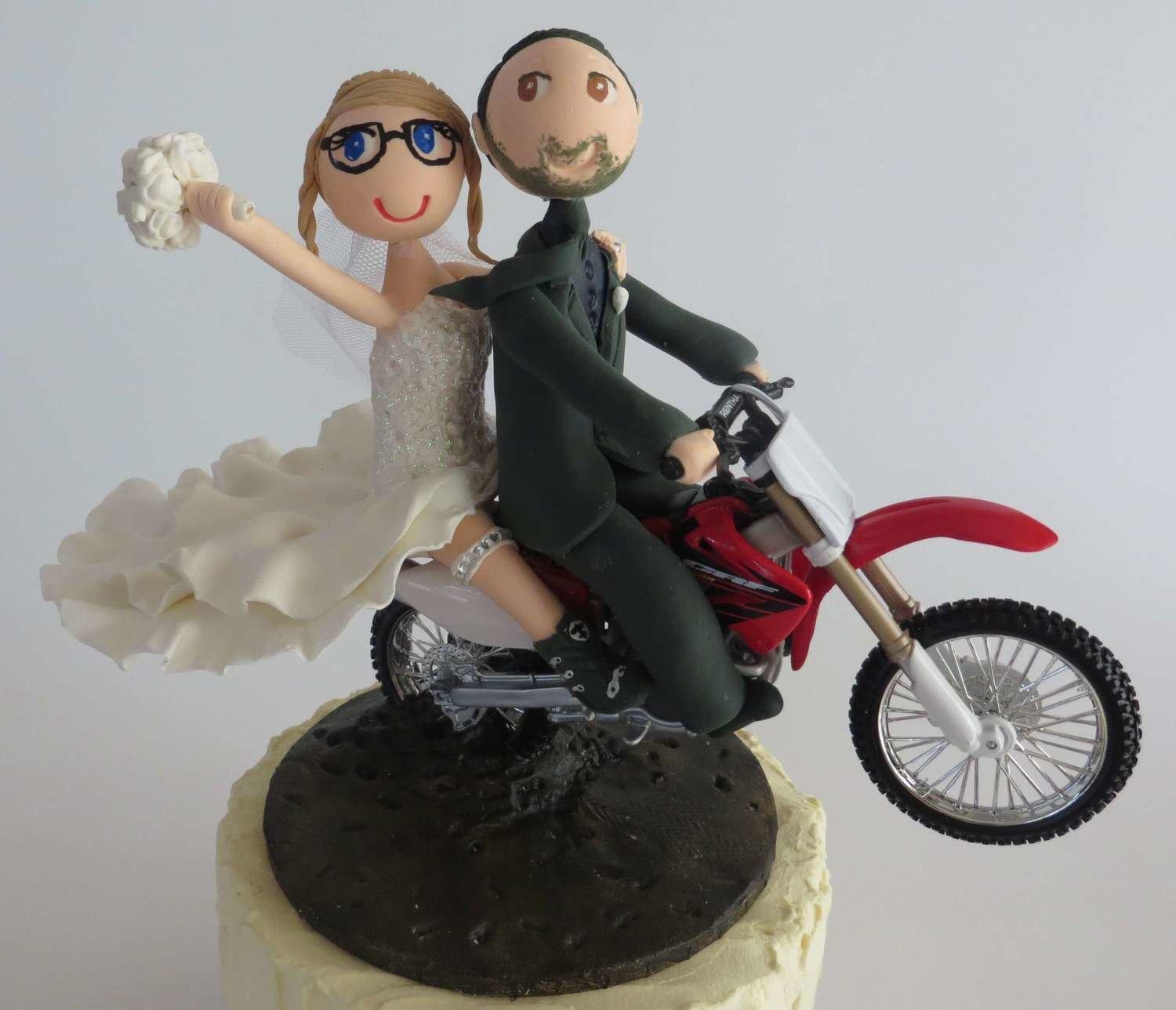 Bride & Groom Riding  Motorbike on base board