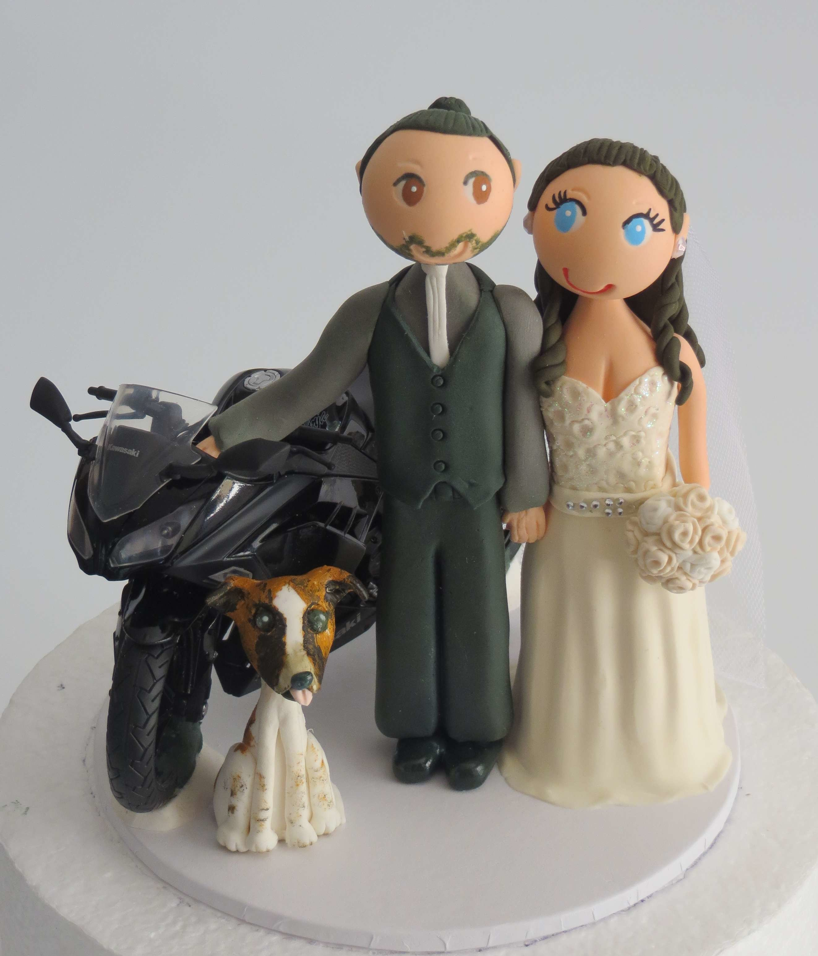 Couple with Motorbike on round base board