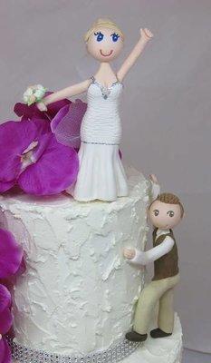 Groom Climbing & Triumphant Bride
