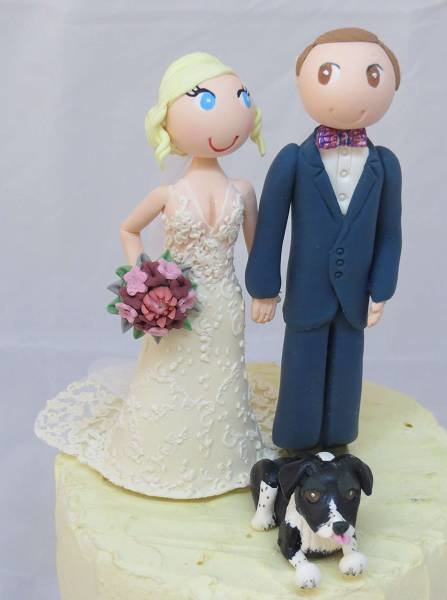 Standing Couple with 1 pet on round base board
