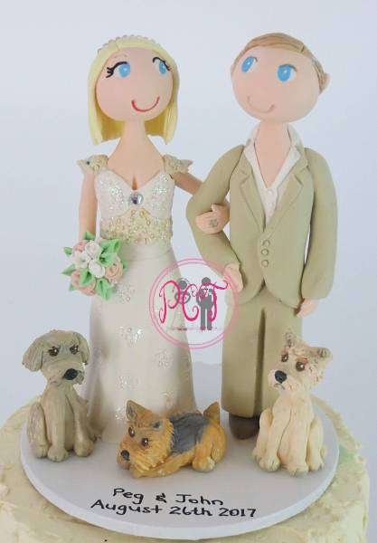 Standing Couple with 3 pets on round base board