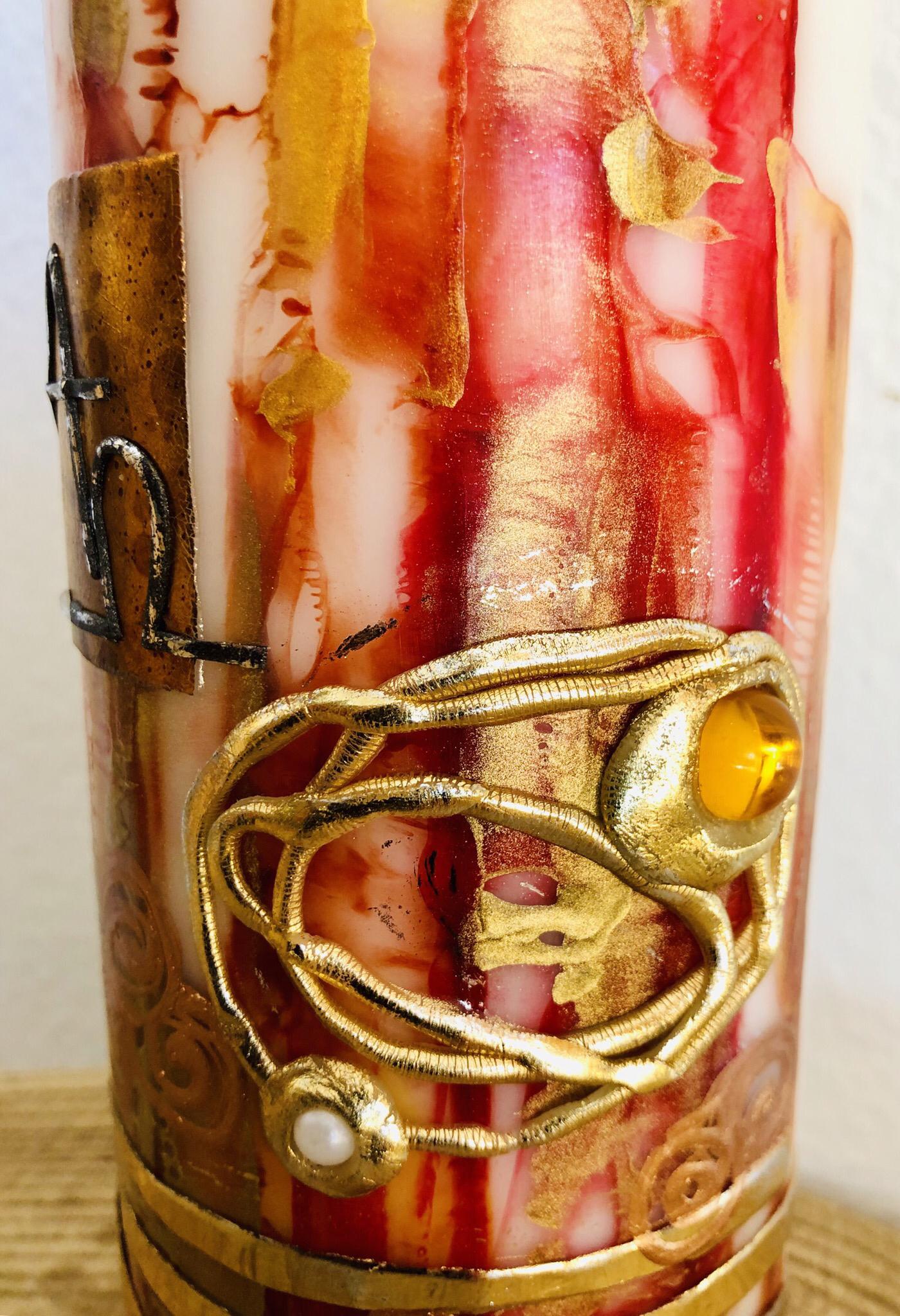 Trauer Kerze Encaustic Rot/Goldtöne 25057