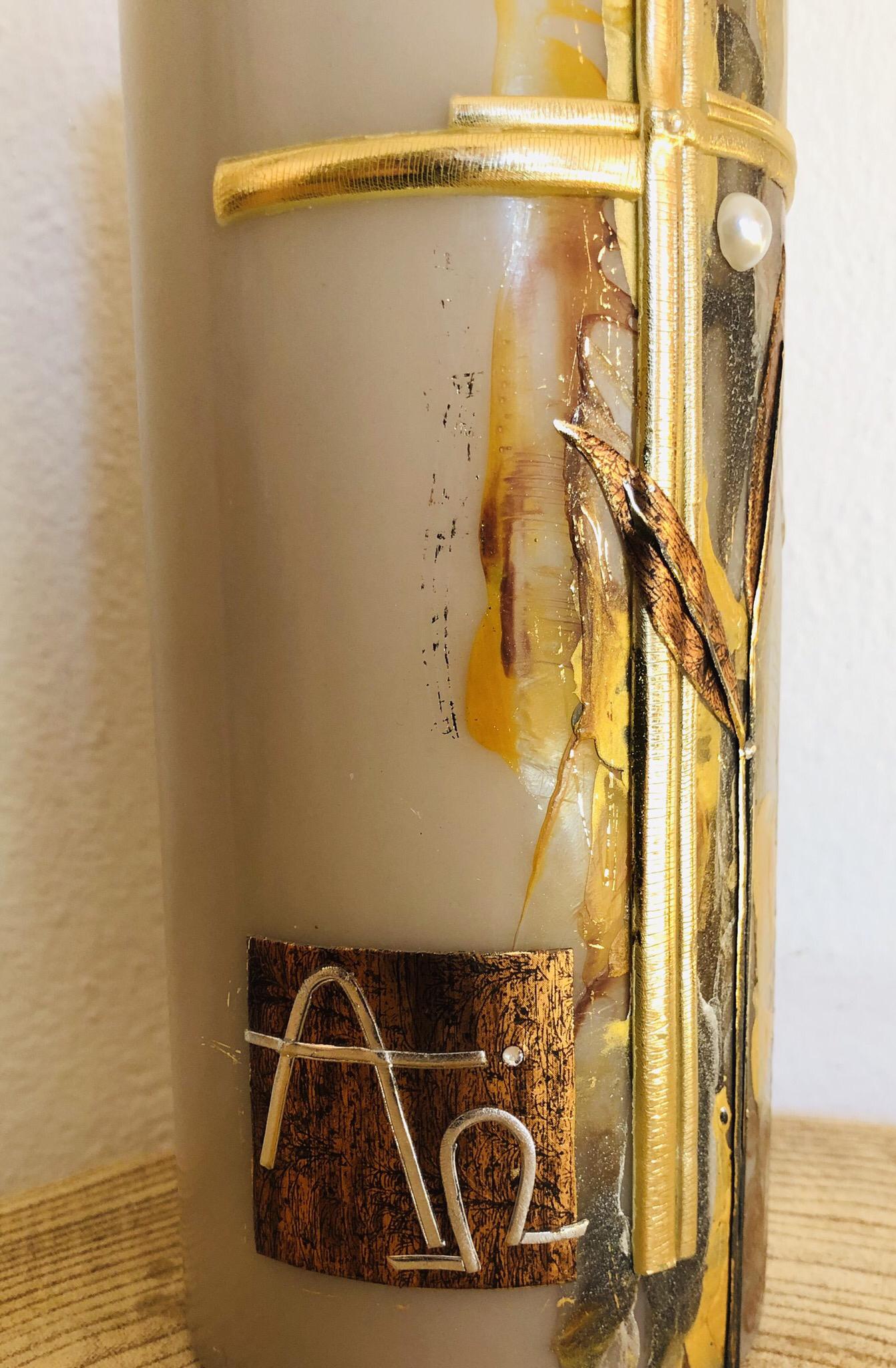 Trauer Kerze Encaustic Braun/Grau/Goldtöne mit Kreuz, Perlen und Swarovskikristallen 25061