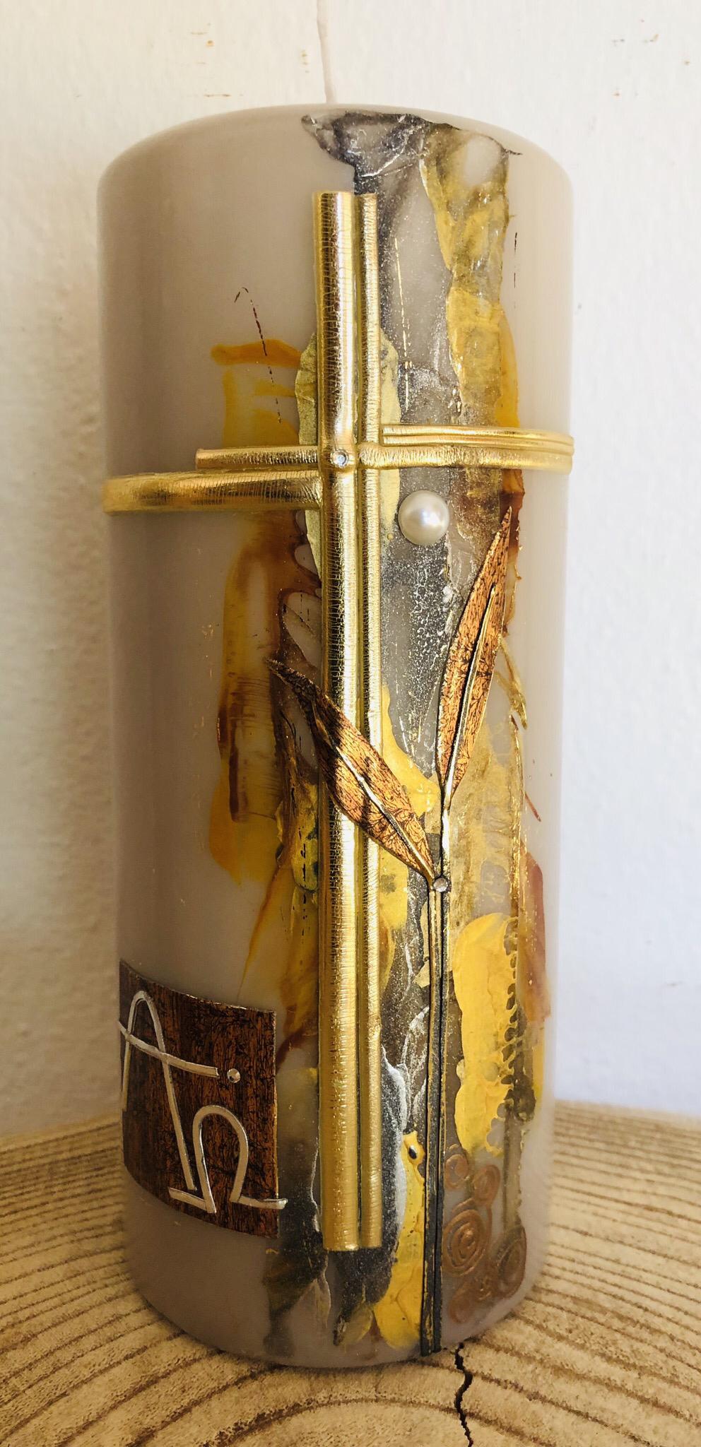 Trauer Kerze Encaustic Braun/Grau/Goldtöne mit Kreuz, Perlen und Swarovskikristallen