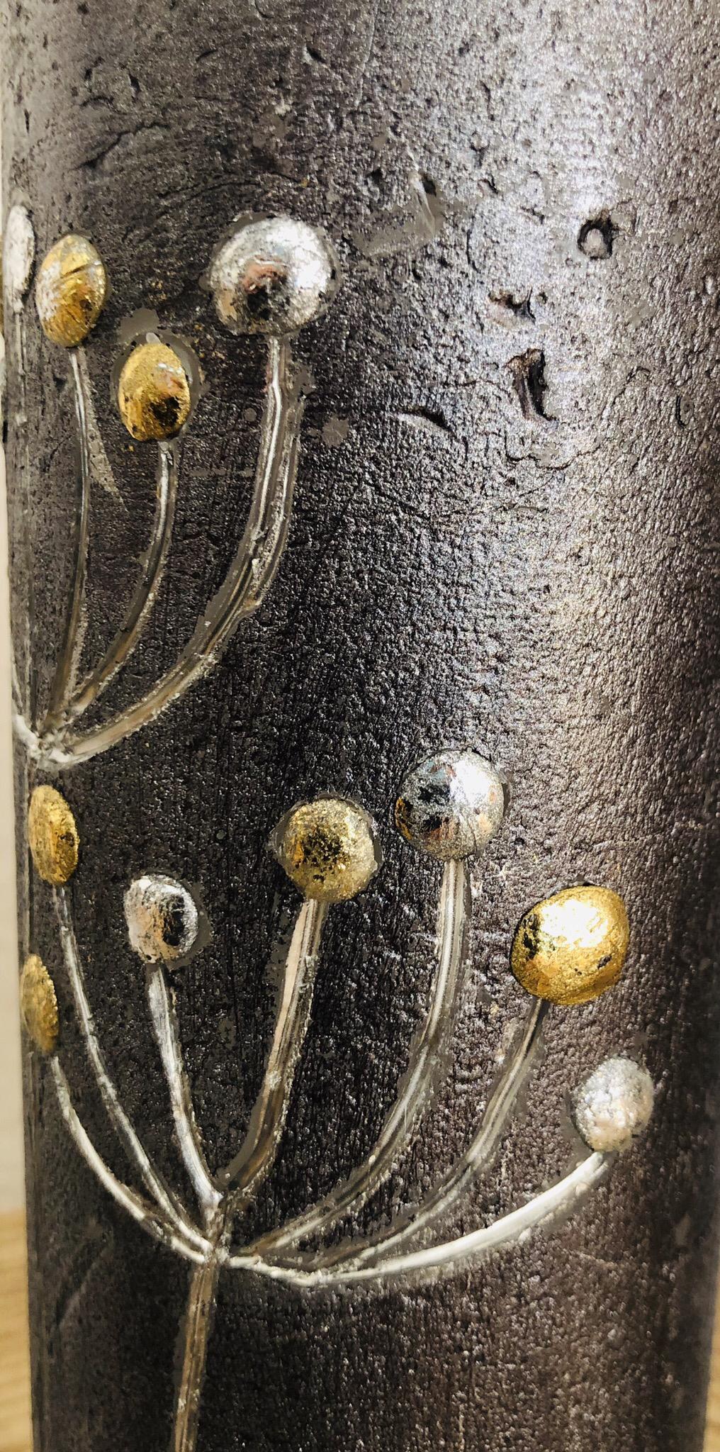 """Trauer Kerze silber/gold graviert + Blattwachs """"Du fehlst"""""""