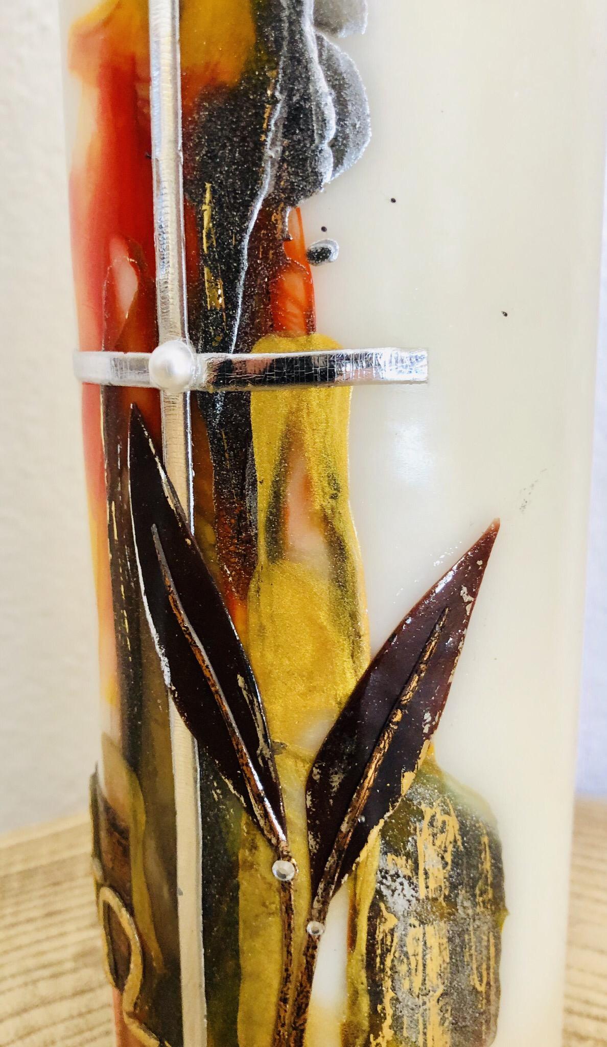 Trauer Kerze Encaustic Rot/Goldtöne