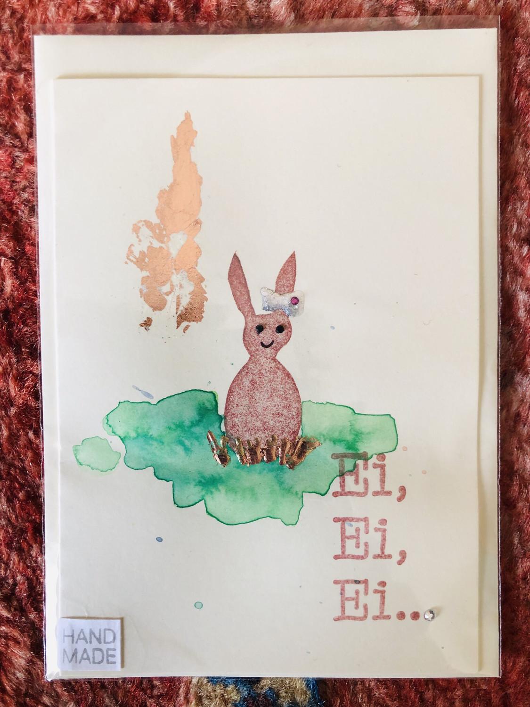 "Karte ""handmade"" Ostern Hase - Ei, Ei, Ei ..."