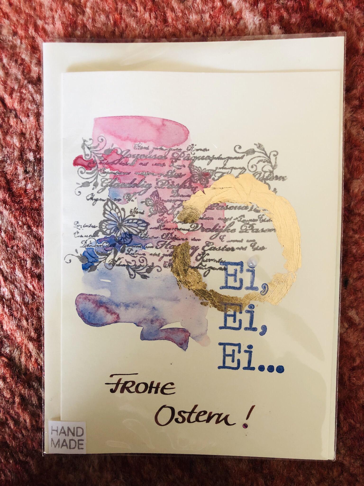 """Karte """"handmade"""" Ostern - Ei, Ei, Ei ... und Frohe Ostern! 25073"""