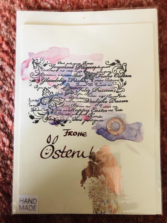 Frohe Ostern Karte.Karte Handmade Ostern Text Frohe Ostern