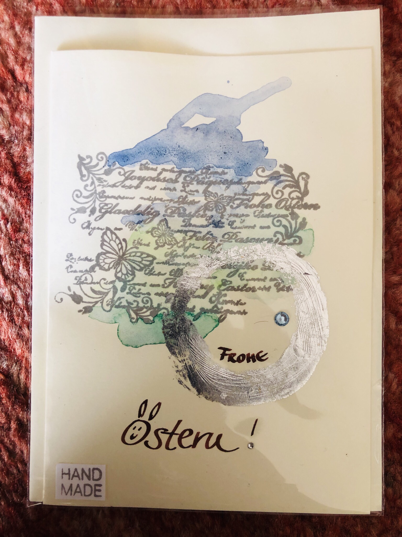 "Karte ""handmade"" - Ostern Text - Frohe Ostern! 25075"