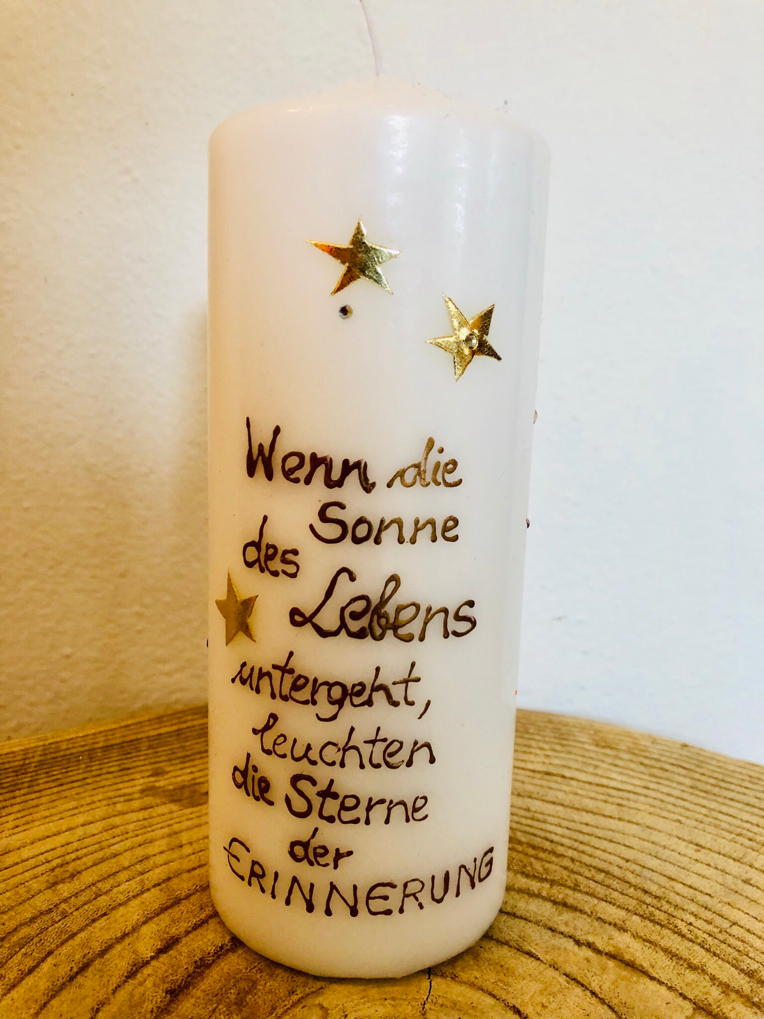 Kerze Trauer - Sonne/Sterne + Spruch
