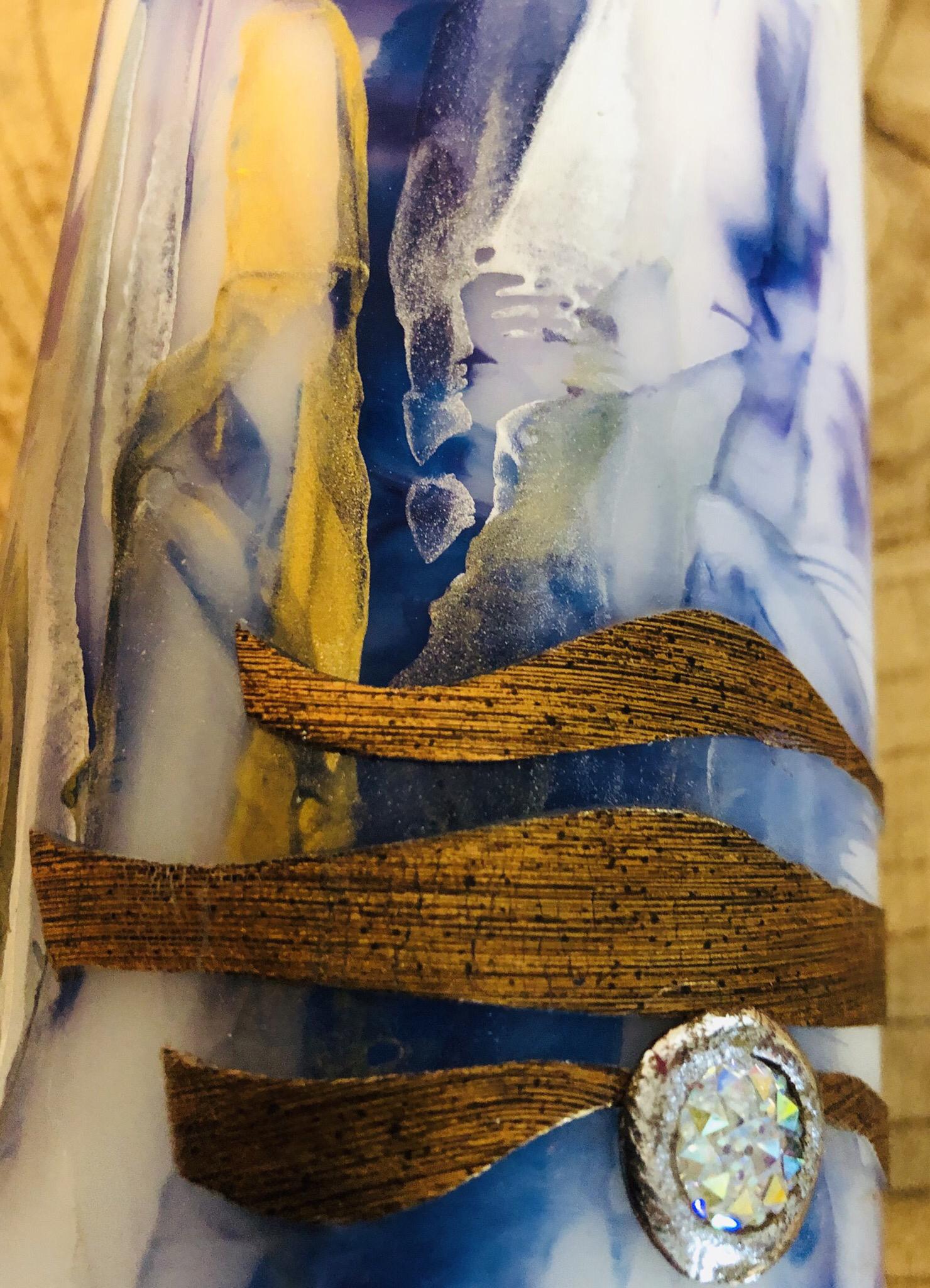Kerze Encaustic Blau/Goldtöne - Perlen und Swarovskikristalle